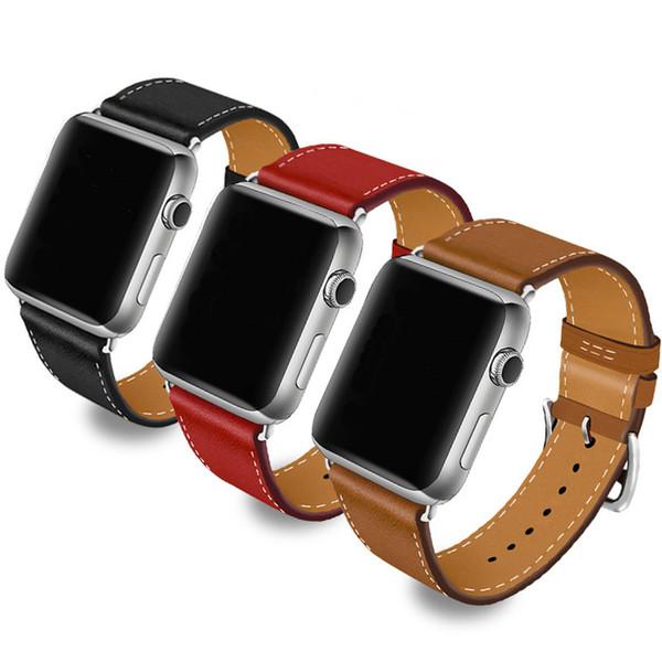 38 / 40mm 42 / 44mm de la mode simple en cuir massif bracelet de montre boucle bande bracelet je regarde 1/2/3/4 montre Apple perforé bracelet souple