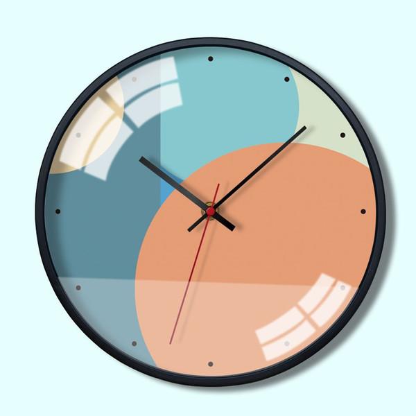 Гостиная Простая Мода Цвет Блок Блок Лоскутное Творческий Северный Стиль Дома Атмосферные Металлические Стены Декоративные Тихие Кварцевые Часы