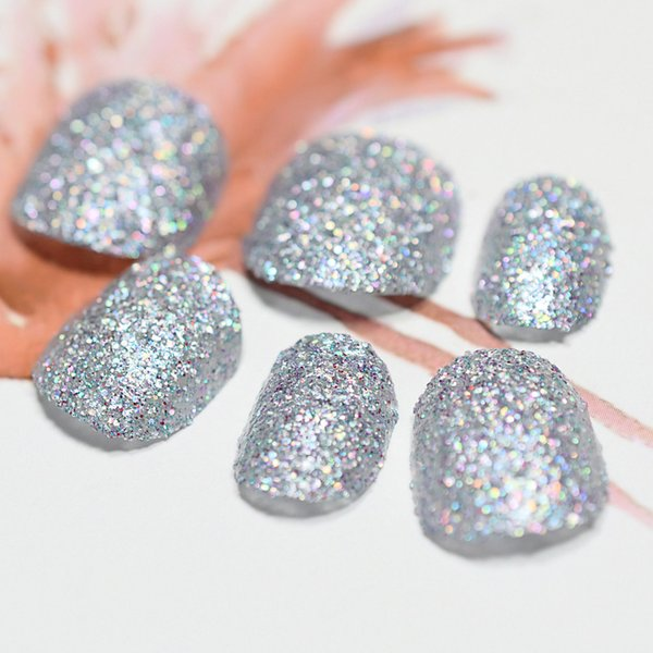 Holographic Chameleon Colorful False Fake Nails Holo Laser Silver Chrome Glitter Decoration Short Round Nail Paillettes Tips