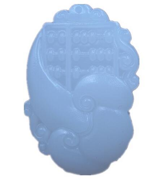 naturales tallados de calcita collar de jade RUYI Ábaco chino colgante amuleto suerte jade blanco con colgante certificado