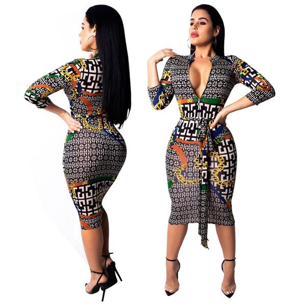 Designer de vestidos das mulheres padrão de luxo vestido de moda Geométrica correntes de ouro impressão vestir roupa das mulheres 2019 novo tamanho S-2XL