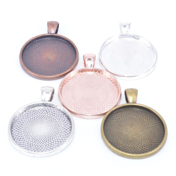 cabochon base pendant setting trays fit 25mm cabochon diy blank jewelry bezels antique silver +rose gold+red copper+bronze+silver plated