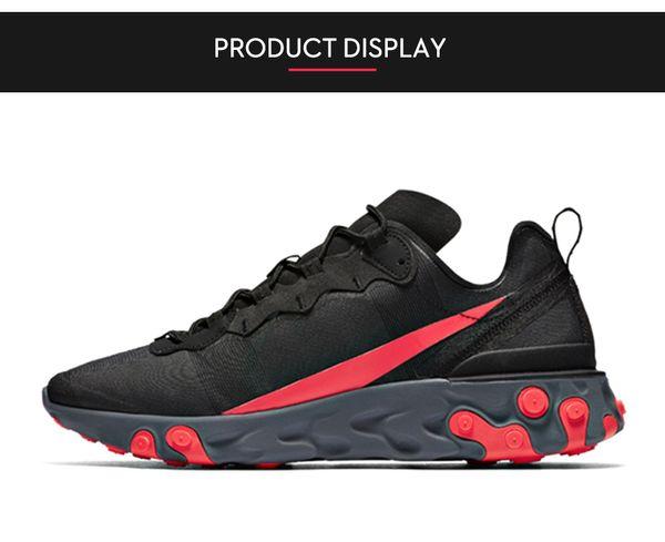 react element 87 55 Chaussures de course en plein air hommes femmes Anthracite Light Bone triple noir blanc RED RED ORBIT baskets mode hommes avec boîte