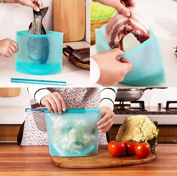 Reusable Silicone Vacuum Seal Food Fresh Bag Fruit Meat Milk Storage Containers Refrigerator Bag Ziplock Kitchen Organizer 4 Colors