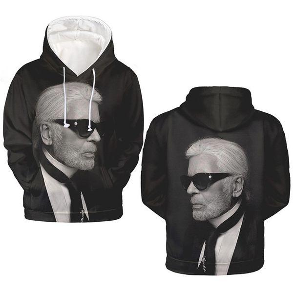 Karl Fashion Founders Impresión digital 3D para hombre Sudaderas con capucha Lagerfeld O Cuello de manga larga Sudaderas Ropa para hombre caliente