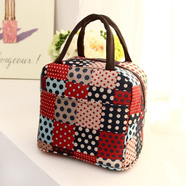 Junejour Polka Dot Women's Waterproof Canvas Bag Handcuffs Picnic Storage Bags Kitchen Flower Printed Lunch Bag Portable Student