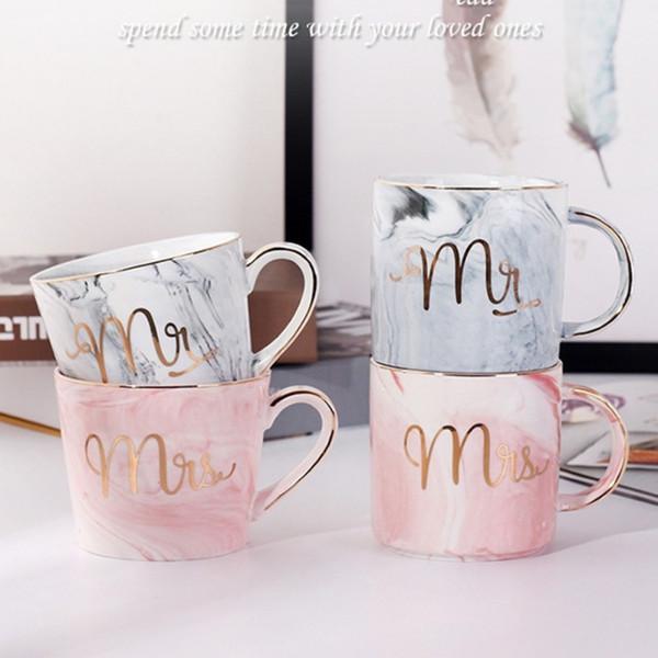 Tazze di ceramica in marmo Placcatura in oro Coppia Regalo dell'amante Tazza del mattino Caffè al latte Tè Colazione Tazza in porcellana creativa