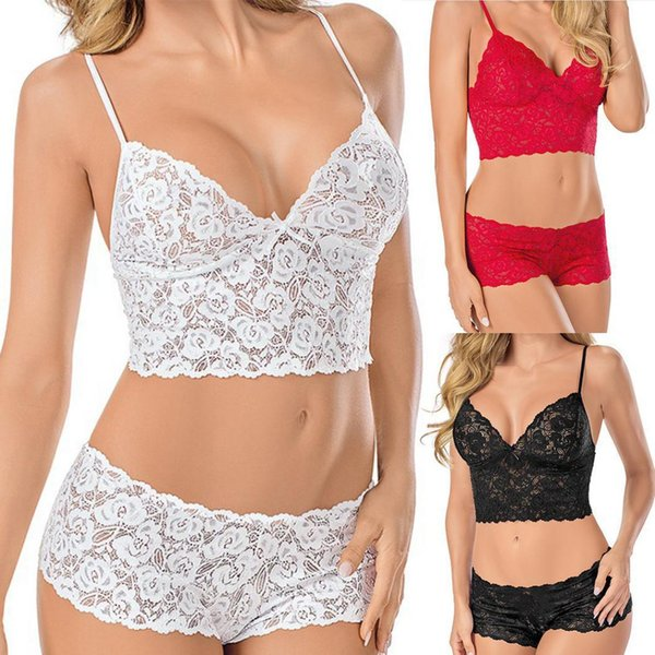 best selling Women Sexy Costumes Set Lace Sexy Lingerie Underwear Women Strap Three-Point Wrapped Nightwear Bras and Panties Set