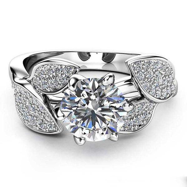 Cristal Fleur Anneau Diamant Zircone Anneaux Bagues De Fiançailles De Mariage Designer Anneau De Mode Bijoux pour Femmes Cadeau drop shipping