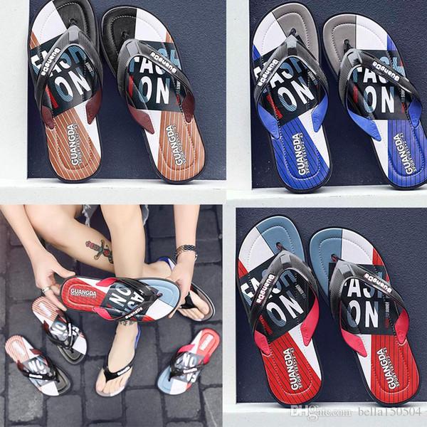 newest Leisure and fashion Rubber Slide designers Sandal Slippers blue Red black Stripe Design Men Classic Summer Outdoor beach Flip Flops