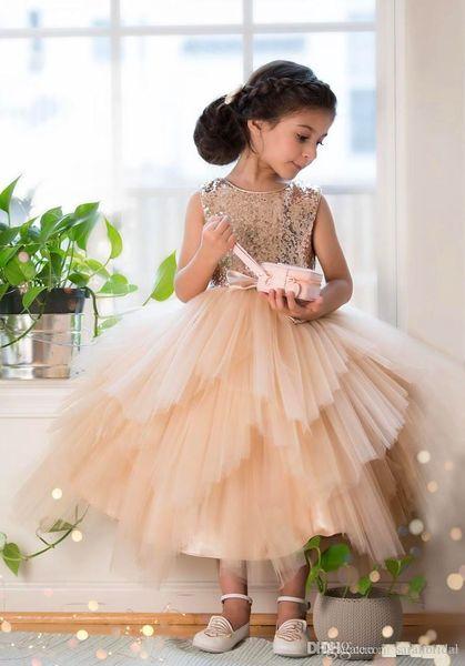 Lace Tulle Flower Girls Dresses For Weddings Spaghetti Straps Little Children Wedding Birthday Party Dresses Princess Floor Length