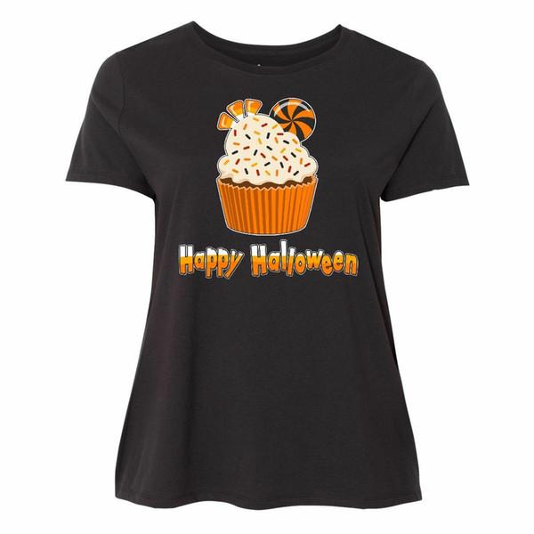 Inktastic Happy Halloween- Cute Candy Corn Cupcake Women's Plus Size T-Shirt Or Men Women Unisex Fashion tshirt Free Shipping black