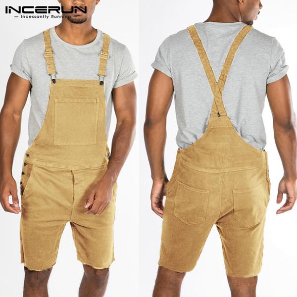INCERUN Summer Men Pants Romper Cotton Pockets Solid Straps Playsuits Casual Trousers Men Streetwear Fashion Jumpsuit Pants 2019