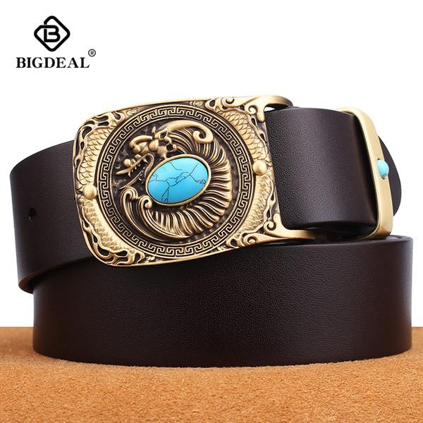 Publisac ceinture vintage pour les hommes véritable ceinture de cuir pour homme Bracelet Casual Cowskin Ardillon Homme Homme