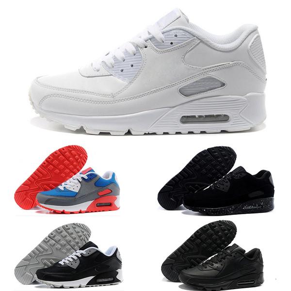 Compre Nike Air Max 90 2018 Venta Caliente Zapatillas Ez Zapatos Casuales Para La Calidad Superior Negro Blanco Rojo Gris Azul Verde Hombres Zapatos