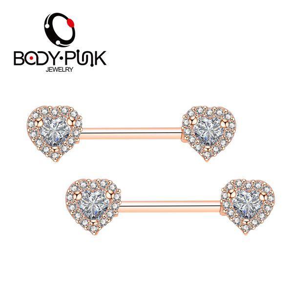 wholesale Brand 2018 New Women Nipple Piercing Jewelry 14G Double Heart 100% AAA CZ 316 L Surgical Steel Nipple Barbell 2Pcs
