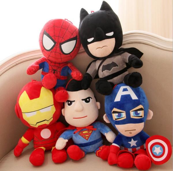 25cm Soft Stuffed Super Hero Captain America Iron Man Spiderman Plush Toys The Avengers Movie Dolls for Kids Birthday Gift