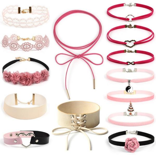 14pcs / set Gotik Choker Schwarz Rosa nette Samt-Halsketten-Spitze Art und Weise Halsband Hals Accessoires Mädchen