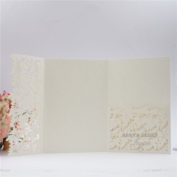 Elegant Shimmery Ivory Lace Flower Laser Cut Wedding Invitation Card Tri-fold Laser Pocket With Free Printed Wedding Insert Free Shipping