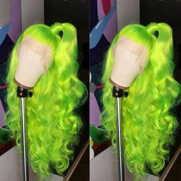 Doğal Saç Çizgisi Tam Peruk Yeşil Cosplay Peruk Uzun Vücut Dalga Saç kadınlar için Ücretsiz Bölüm Isıya Dayanıklı Tutkalsız Sentetik Dantel Ön Peruk