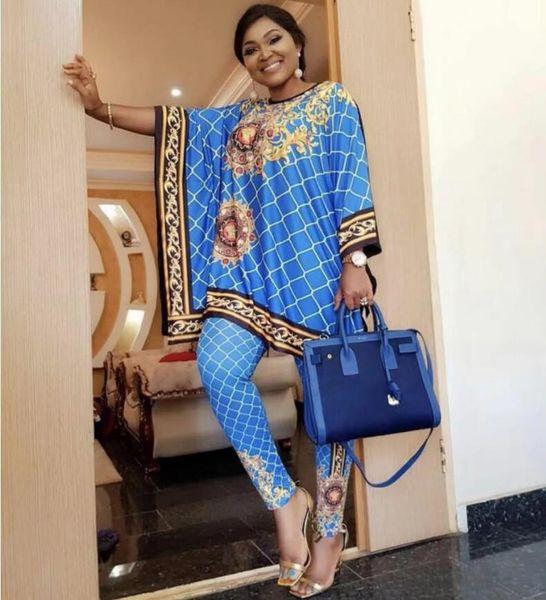 Abbigliamento donna euramericano Stampa due pezzi Set girocollo da donna girocollo e pantaloni a matita Set Africa Abbigliamento casual a due pezzi