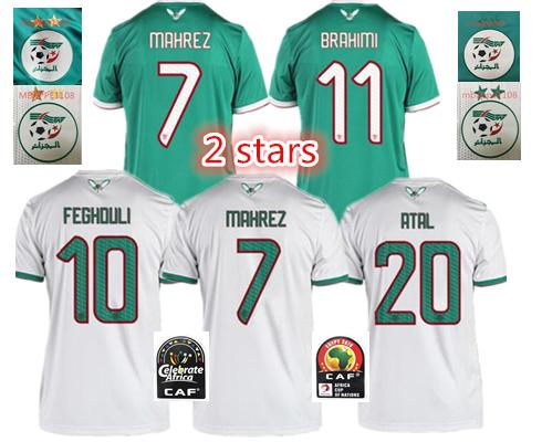 2019 2 stars Afrikameisterschaft Algerien FUSSBALL JERSEYS ZUHAUSE AFCON MAHREZ FEGHOULI BRAHIMI BOUNEDJAH BOUAZZA 19 algerie JERSEY FOOTBALL SHIRTS