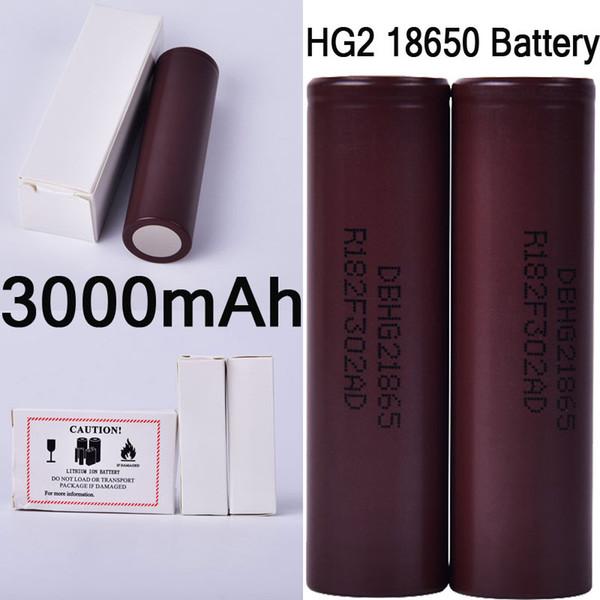 100% Haute Qualité HG2 18650 Batterie 3000 mah Boîte à Cigarette Électronique Vape Mods 35A Batteries Au Lithium Rechargeable Plat Top DHL Libre FJ752