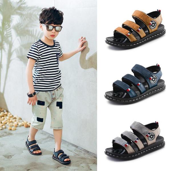 Meninos Sandálias Crianças sapatos de Couro Genuíno Macho Crianças Sandálias Do Bebê Meninos Sandálias de Verão Casual confortável verão sapatos de Praia