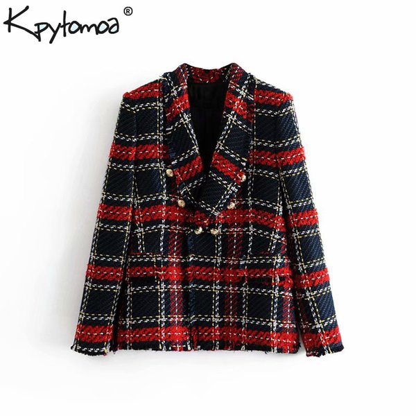 Vintage Double Breasted Frayed Checked Tweed Blazers Coat Women 2019 Fashion Pockets Plaid Ladies Outerwear Casual Casaco Femme J190712