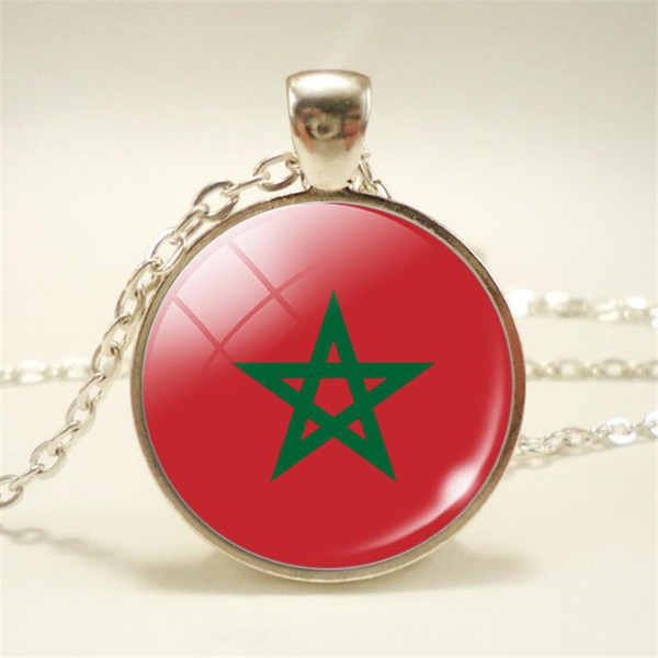 Nueva European Simple Time Gem Glass Cabochon Marruecos Bandera Nacional Copa Mundial de Fútbol Fan Choker Collares pendientes Para Mujeres Hombres Regalo de la joyería