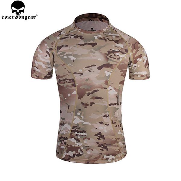 Emersongear Haut Engen Basisschicht Camo Running Shirts Atmungsaktiv Kurzarm T-shirt Kampf Camoflauge Shirt EM8605