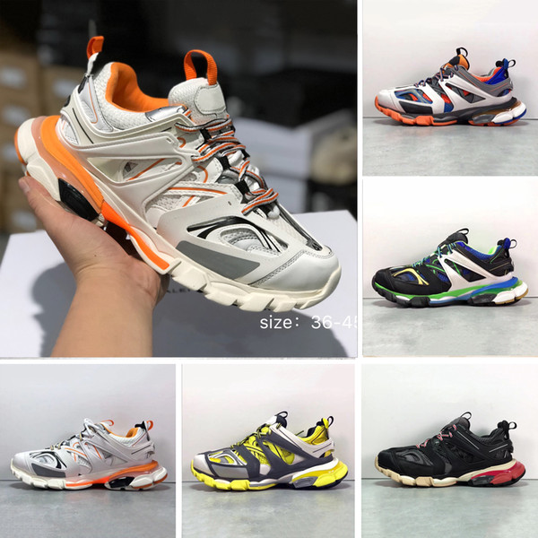 2019 paris triple s track 3.0 grey orange yellow men women running shoes platform sports sneakers tess s. gomma trek mens trainers