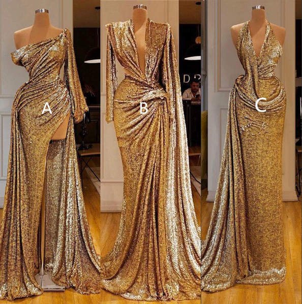 2020 or réfléchissant sirène robes de bal avec haut fendus Sexy une épaule manches longues formelle Soirée Pageant robe