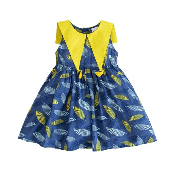 tassel sleeveless cute doll collar print dress 2019 summer little girls beach clothes age for 2 - 8 yrs baby girls school frocks