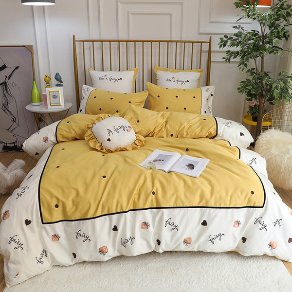 Super Good Quality Bedding Set 60branch 4/5/6/7pcs Duvet Cover Girl Favorite Heart Yellow Strawberry Embroidery Quilt Pillowcase