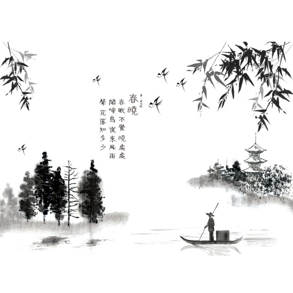 ome Decoration Posters Stickers [SHIJUEHEZI] Black Color Chinese Painting Wall Stickers Interior Design Wall Decals for Living Room Dec...