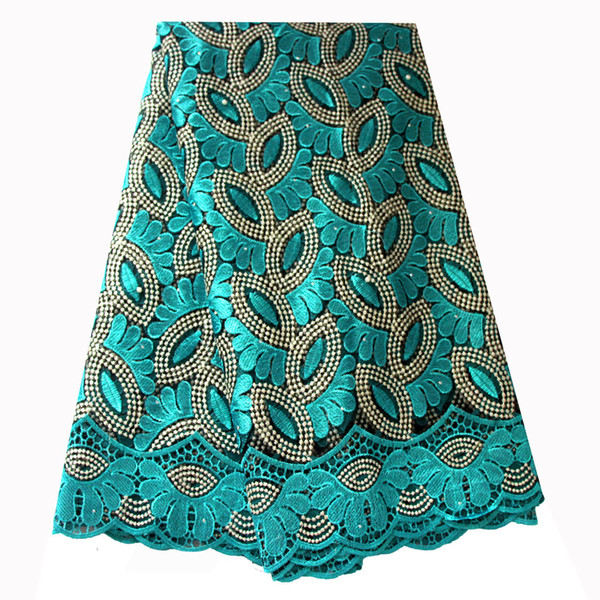 top popular French Lace Fabric Teal Green Beaded African Lace Fabric 2019 High Quality Embroidered for Nigerian Wedding Dresses 2021