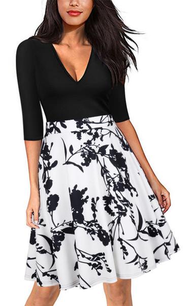 Fashion-Lady Dresses Wear New Style Womens Pulls Hot Casual robes à manches longues Imprimer Jupe Été
