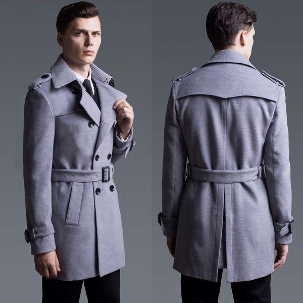 Minglu Cashmere Mens Coat Chaqueta para hombre de lujo de color sólido con doble botonadura Talla grande 5XL 6XL Moda Slim Fit Wool Man Trench