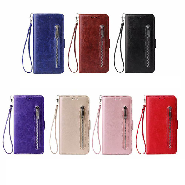 Zipper PU Leather Wallet Case For Iphone XR XS MAX X 10 8 7 6 Samsung S10 S10e Frame Photo ID Card Slot Holder Magnetic Flip Cover Lanyard