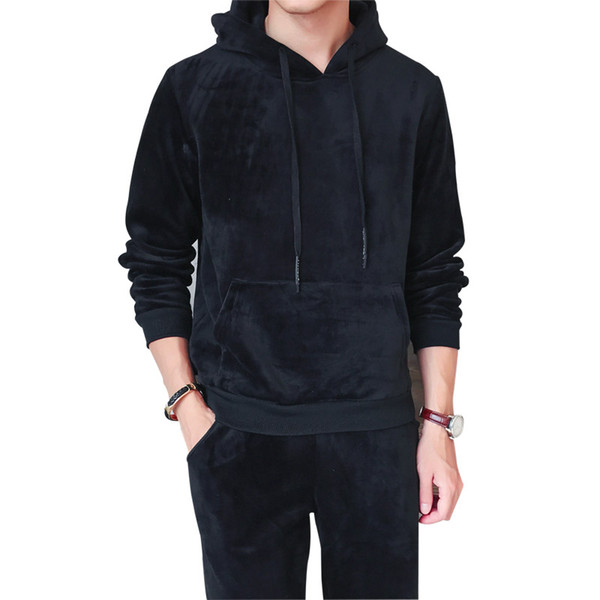 Velvet tracksuit suit Men's Sportswear Casual Hooded Sweatshirt+Pants Two Piece Sets Sporting Suit Long Sleeve Hoodies