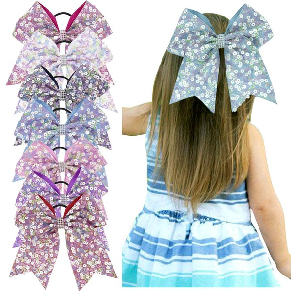 top popular Girl Paillette Big Bow Hairband Colorful Fashion Crystal lovely Bowknot kids Children Print Headwear Baby Hair accessories TTA739 2020