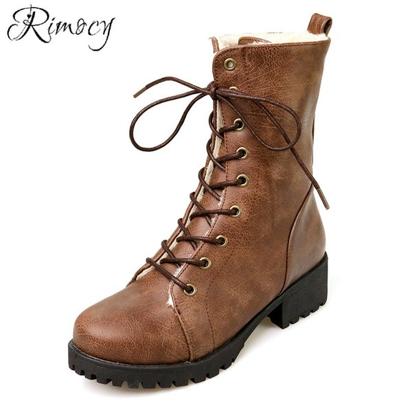Rimocy Women Ankle Boots Vintage soft Leather lace up Ladies Motorcycle Boots Female Short Fur Winter Snow Boots Black Brown