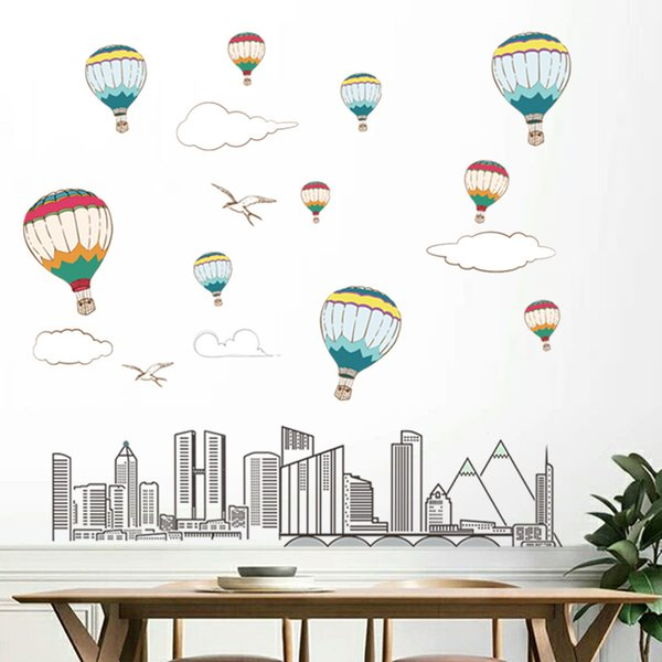 DIY Cartoon Hot-air Balloon Wall Stickers PVC City Building Decal Kids Room and Nursery Decorative Stickers Removable