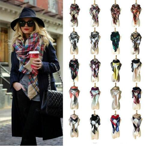 top popular 40 Colors Women Plaid Scarves Grid Tassel Wrap Oversized Check Shawl Winter Neckerchief Lattice Triangle Blanket Scarf CCA11218 10pcs 2019