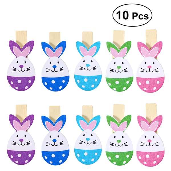 10pcs Lovely Rabbit Colored Wooden Pegs Note Memo Photo Clips Holder Craft Clips Ornaments for Easter Party Decoration