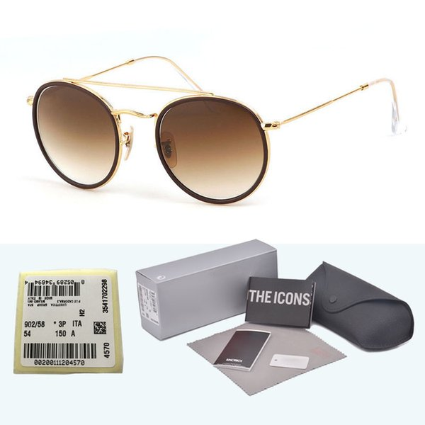 Top quality Steampunk sunglasses men women Brand design Alloy frame Mirror glass lens Oculos De Sol with cases and box