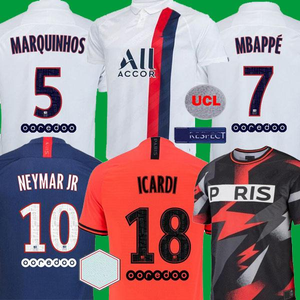 top popular 2019 2020 Mbappe Paris CAVANI Soccer Jerseys maillots de foot VERRATTI ANDER HERRERA DRAXLER Football Shirts 19 20 PSG DI MARIA Camisetas 2019