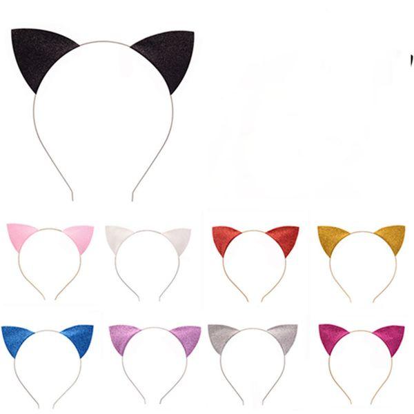 top popular Cat Ears Headband Cute Lovely Glitter Cat Ear Headwear Glitter Hair Bands Headbands Head Hoop Clasps 2020