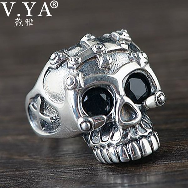 v.ya rock vintage silver ring black cz stone eyes solid 925 sterling silver titan skull mens biker rock punk ring